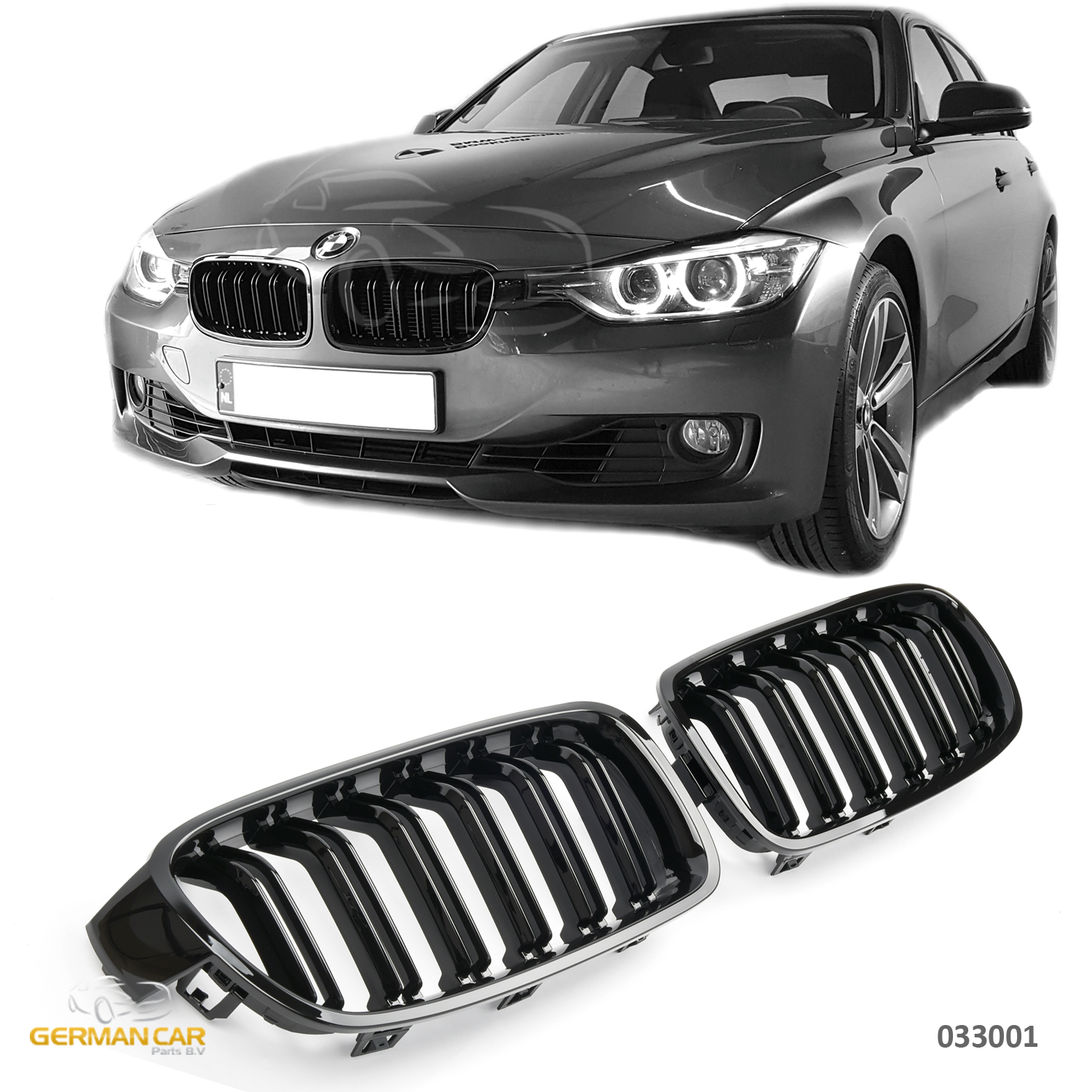 Grille For Bmw F30 F31 Sport Kidney Double Slat M3 Look Glossy Black