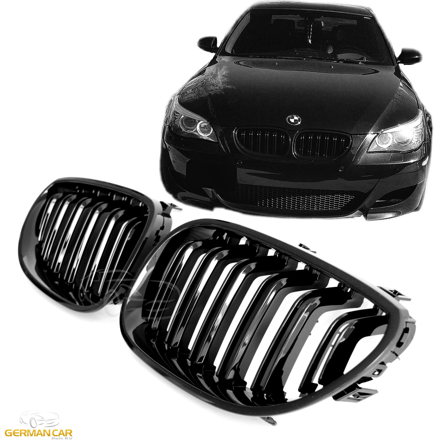 b95d2eb019 Details about GRILLE FOR BMW E60 E61 SPORT KIDNEY DOUBLE SLAT M5 LOOK GLOSS  BLACK
