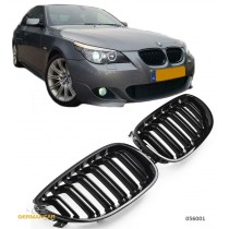 BMW E60 E61 SPORT GRILLE KIDNEY M5 LOOK GLOSS BLACK