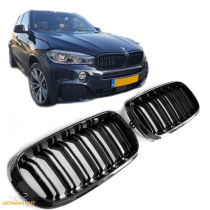 GRILLE  FOR BMW X5 / X6 F15 F16 SPORT KIDNEY DOUBLE SLAT M LOOK GLOSS BLACK